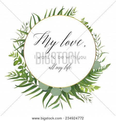Vector Floral Greeting Card Design With Elegant Tropical Greenery, Plam Leaves,eucalyptus Green Bran