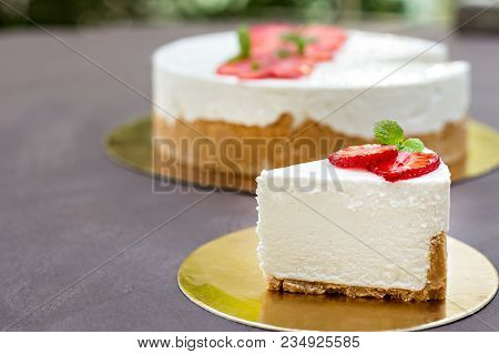 Cheesecake With Strawberries. Cake Decorated With Strawberries.
