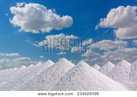 Tonnes Of Salt In Huge Mounds Waiting To Be Bagged...