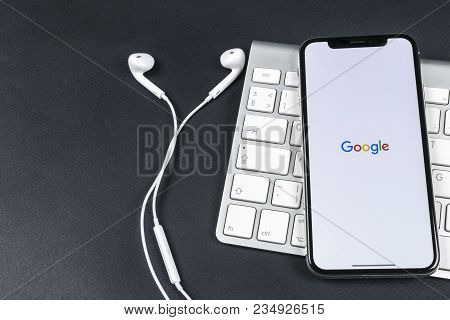 Sankt-petersburg, Russia, April 6, 2018: Google Application Icon On Apple Iphone X Smartphone Screen