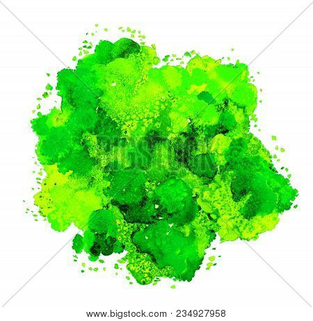 Abstract Watercolor Texture, Bionic Form, Dynamic Color Yellow And Green. Big Size. For The Backgrou