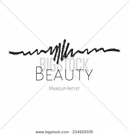 Beauty Makeup Artist Logo Template Concept With Black Textured Eye Pencil Drawing Stroke Vector Cos