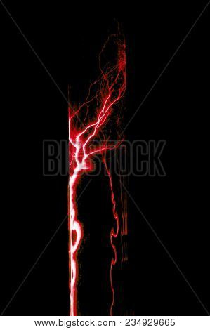 Lightning Flash Discharge Of Electricity On Transparent Background. Red Electrical Visual Effect.