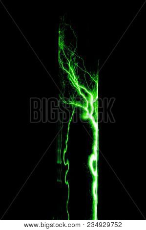 Lightning Flash Discharge Of Electricity On Transparent Background. Green Electrical Visual Effect.