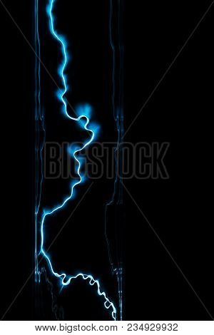 Lightning Flash Discharge Of Electricity On Transparent Background. Blue Electrical Visual Effect.