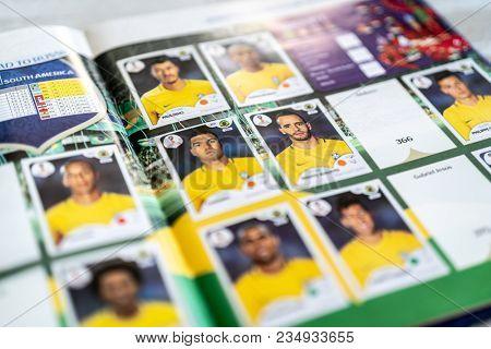SAO PAULO, BRAZIL - CIRCA MARCH 2018: Panini FIFA World Cup Russia 2018 Official Licensed Sticker Album. (Brazilian Page)