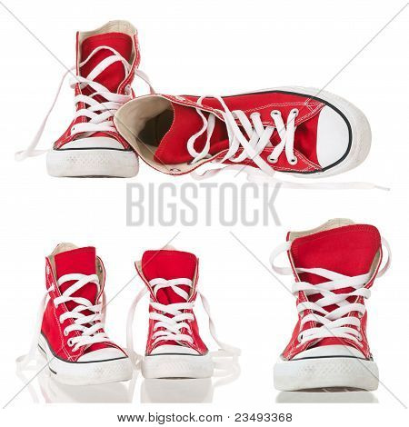 Vintage Red Sneakers Collage