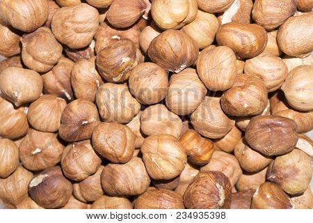 Background - Peeled Ripe Hazelnut Kernels Closeup