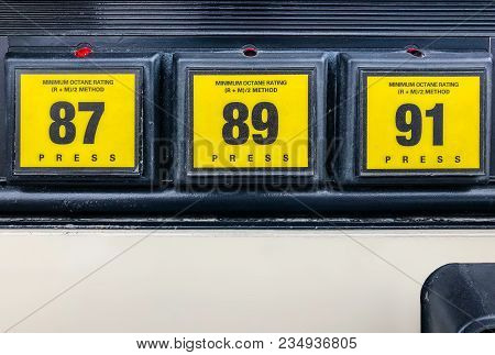 Close Up Shot Of Gas Pump Octane Rating With 87 Grade Selected. 87 Octane, 89 Octane And Premium 91