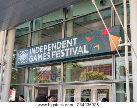 San Francisco, Ca - March 18, 2018: Independent Games Festival Banner For Gdc 2018 In The Moscone Ce