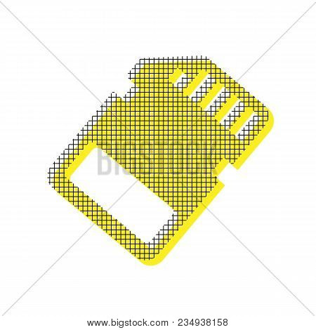 Memory Card Sign. Vector. Yellow Icon With Square Pattern Duplicate At White Background. Isolated.