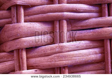 Royal Purple Painted Wooden Wicker Texture Of Basketwork For Background Use.