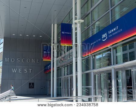 San Francisco, Ca - April 1, 2018: Amazon Web Services (aws) Summit Banner In San Francisco At The E