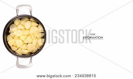 A Pot Of Peeled Potatoes Pattern On A White Background Isolation