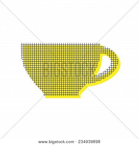 Cup sign. Vector. Yellow icon with square pattern duplicate at white background. Isolated. poster