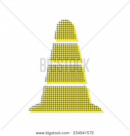 Road traffic cone icon. Vector. Yellow icon with square pattern duplicate at white background. Isolated. poster