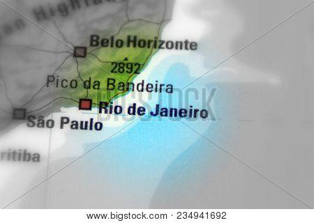 Rio De Janeiro, Or Rio, City In Brazil (black And White Selective Focus).