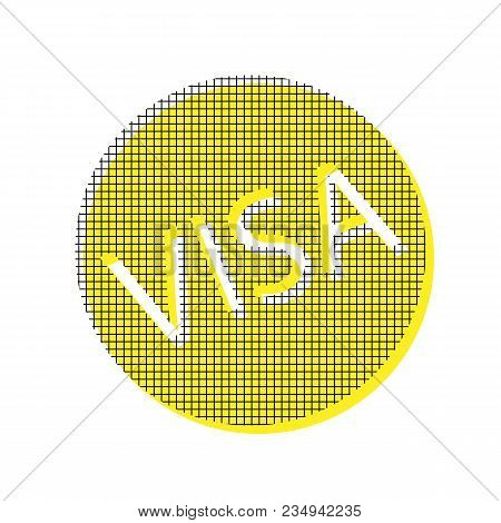 Visa Card Sign Illustration. Vector. Yellow Icon With Square Pattern Duplicate At White Background.