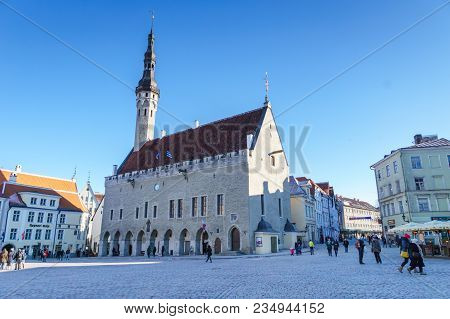 Tallinn, Estonia - March 2018: Town Hall Square In Old Town Of Tallinn Estonia. Old Town Is Listed I