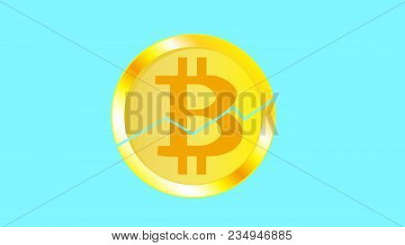 Gold Metallic Bright Shimmering Yellow Volumetric Cracked Coin Bitcoin. Obverse Of A Broken Bitcoin