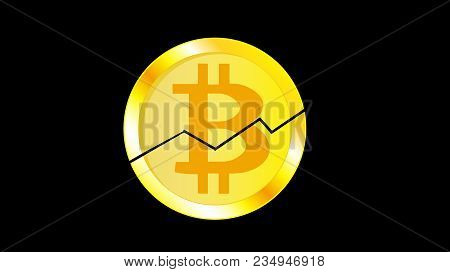 Gold Metal Yellow Cracked Coin Bitcoin. Obverse Of A Broken Bitcoin Coin With A Graph On A Black Bac