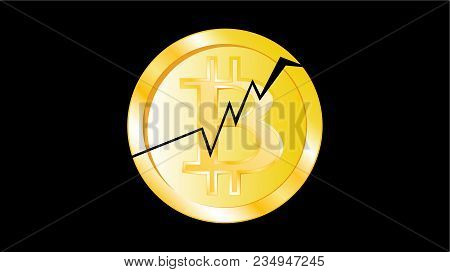 Gold Metal Yellow Cracked Coin Bitcoin. Obverse Of A Broken Bitcoin Coin On A Black Background. The