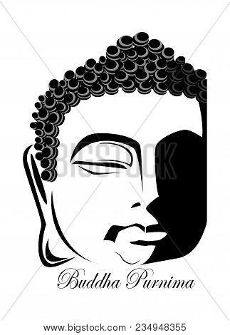 Illustration Of Vesak Day Or Buddha Purnima, Silhouette Of Buddha Face On Isolated Background, Inscr