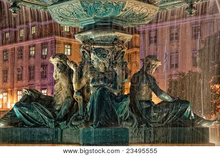 Fountain at Rossio Square in Lisbon