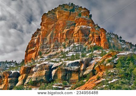 Icy Cliffs Of A Large Sandstone Formation Inside Slide Rock State Park Just North Of Sedona Arizona.