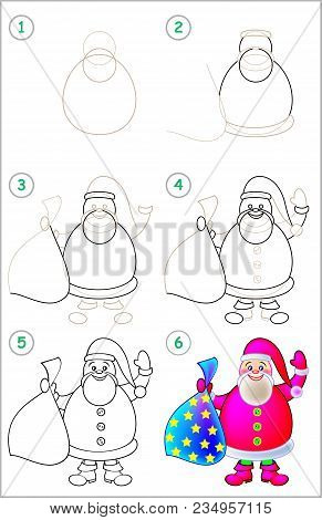 Page Shows How To Learn Step By Step To Draw Santa Claus. Developing Children Skills For Drawing And