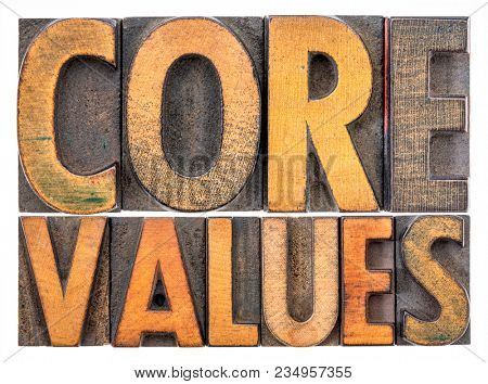 core values  banner  -  isolated word abstract in vintage letterpress wood type blocks stained by color inks
