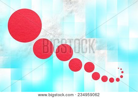 Red Geometric Circles Abstract On Blue Light Background For Use In Book Cover, Poster, Cd, Design, F