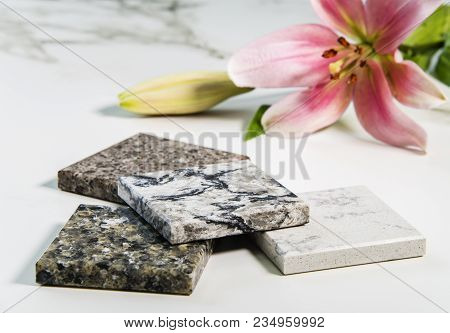 Countertop. Kitchen Counter tops. Stone samples of kitchen countertop. Kitchen countertop. Marble texture on white marbled tile, closeup photo on marbled tile surface on marbled floor show marble tile texture, black and white image, pattern background, ma