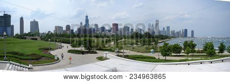 Panoramic View Of The Chicago Skyline Cityscape From Outside The Field Museum During The Cool Globes