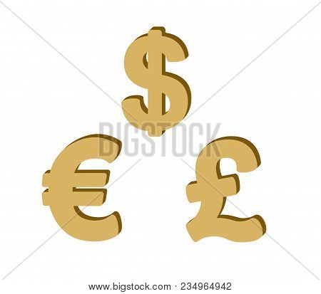 Set Of Golden  Currency Symbols With Sign: Dollar, Euro, British Pound On A White Background