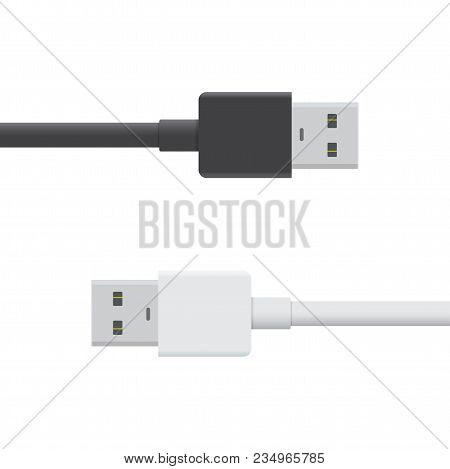 Usb Black And White Cable Icon Isolated On White Background. Vector Usb Plug Sign In Flat Style. Ill