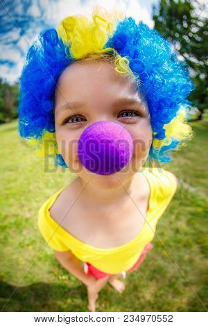 Funny Girl In Clown Wig With Blue Nose
