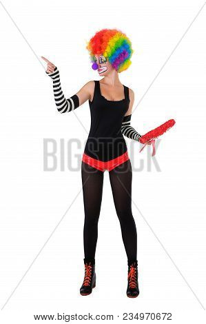 Funny Clown In Colorful Wig Is Standing On White Background