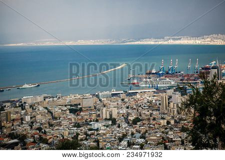 View From Mount Carmel To Port And Haifa In Israel.sunny Mediterranean Landscape