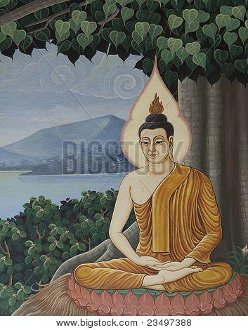 Buddha meditation paint