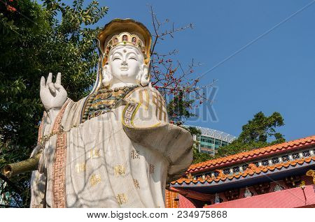Hong Kong, China - March 19, 2018: Large White Guan Yin Goddess Statue The Famous Place For Visitor