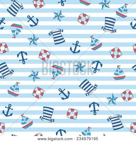 Sailor Stripe Nautical With Boat, Anchor, Float, Shirt. A Playful, Modern, And Flexible Pattern For