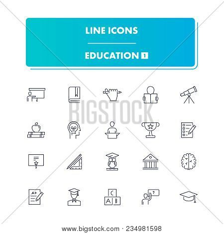 Line Icons Set. Education 1 Pack. Vector Illustration For Studying, Learning, Teaching, Wisdom And K