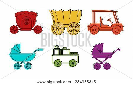Carriage Vehicle Icon Set. Color Outline Set Of Carriage Vehicle Vector Icons For Web Design Isolate