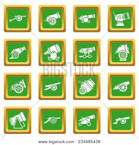 Cannon Retro Icons Set Vector Green Square Isolated On White Background