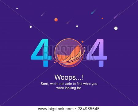 404 Error Page Not Found Isolated In On A Cosmic Background