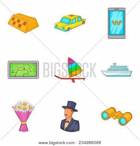 Gathering Icons Set. Cartoon Set Of 9 Gathering Vector Icons For Web Isolated On White Background