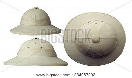 Classic Cork Tropical Colonial Helmet In Three Projections Isolated On White Background