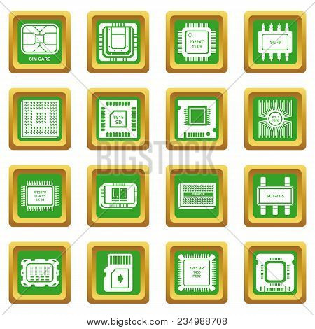 Computer Chips Icons Set Vector Green Square Isolated On White Background