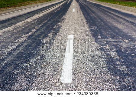 Asphalt Paving On Highway Turn Close Up